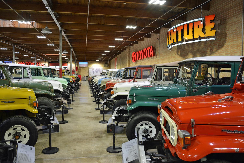 aisle between vintage toyotas