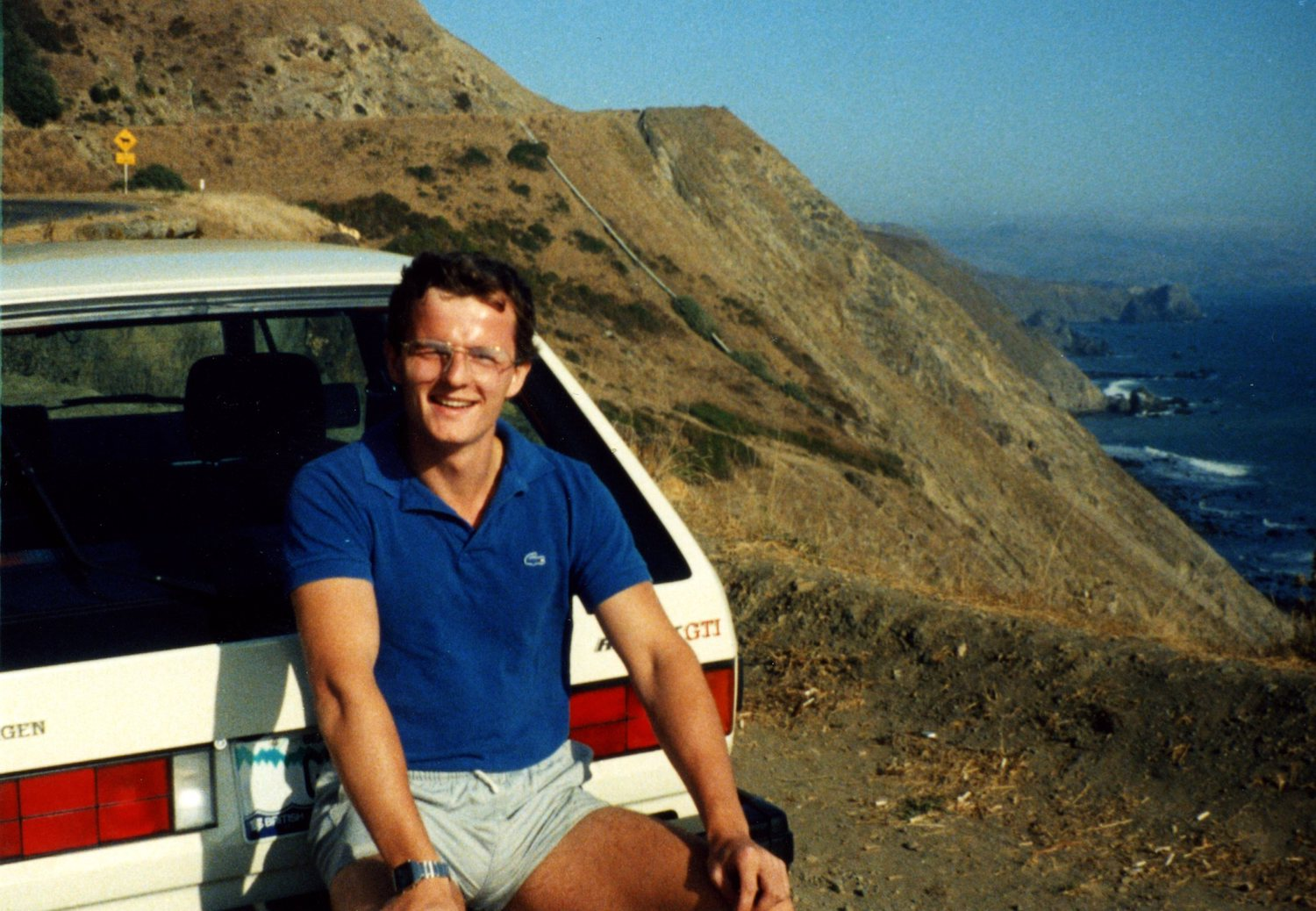 VW GTI with owner on pacific coast highway in 1984