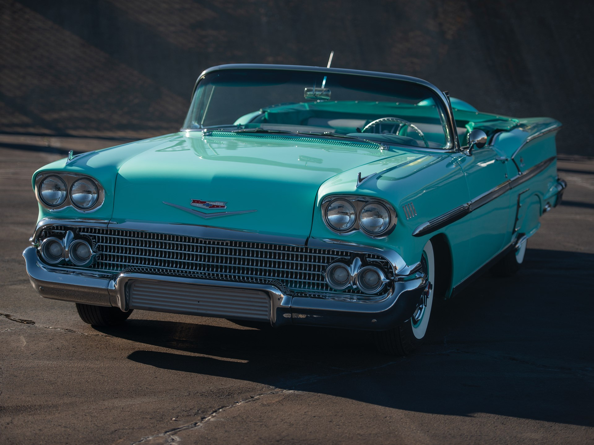 58 chevy tri power impala front three-quarter
