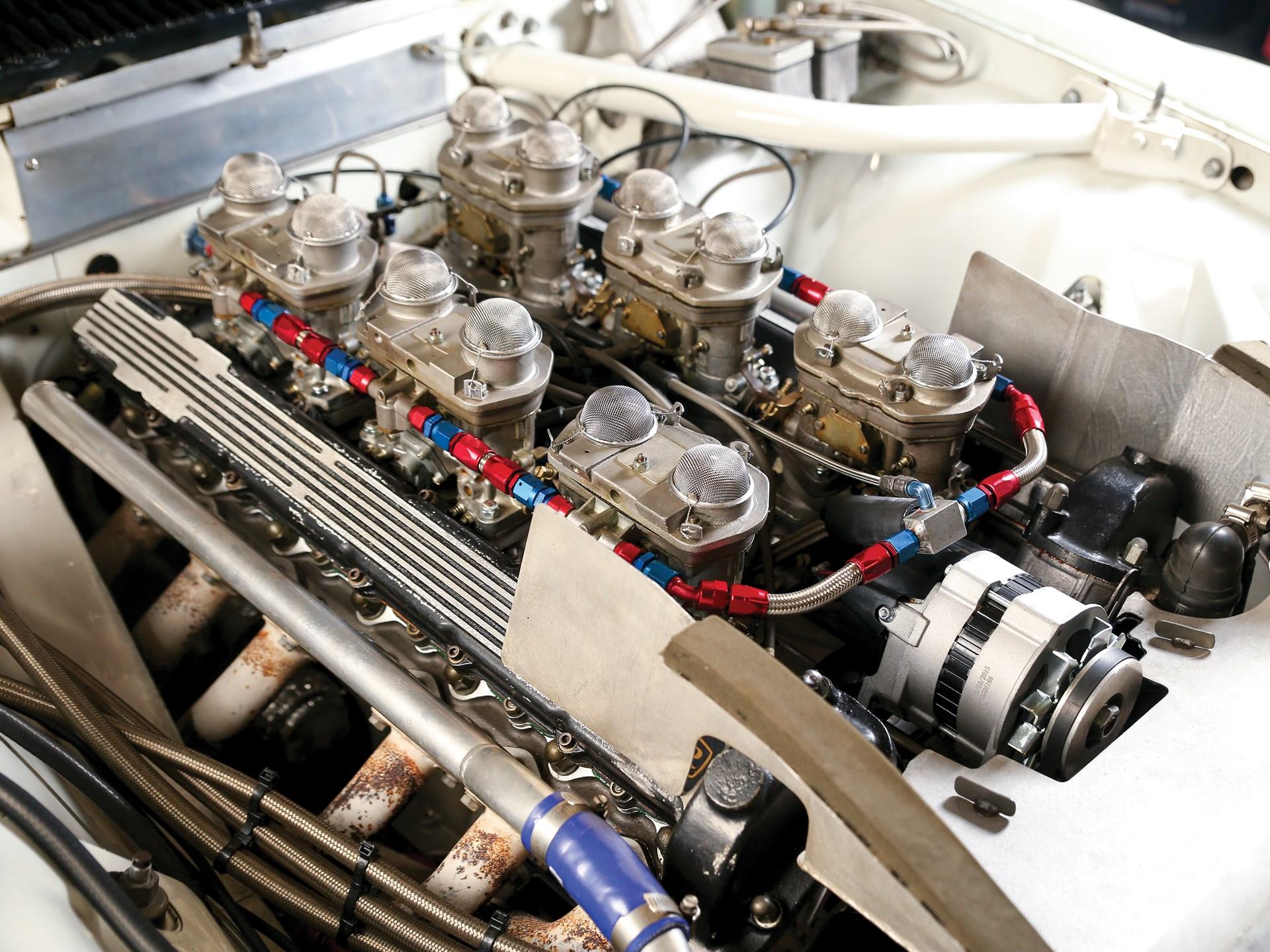 vintage racing jaguar engine closeup