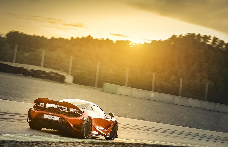 McLaren 765LT supercar rear three quarter on track action