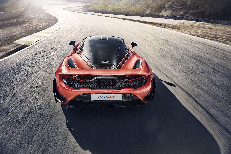 McLaren 765LT supercar rear on road action