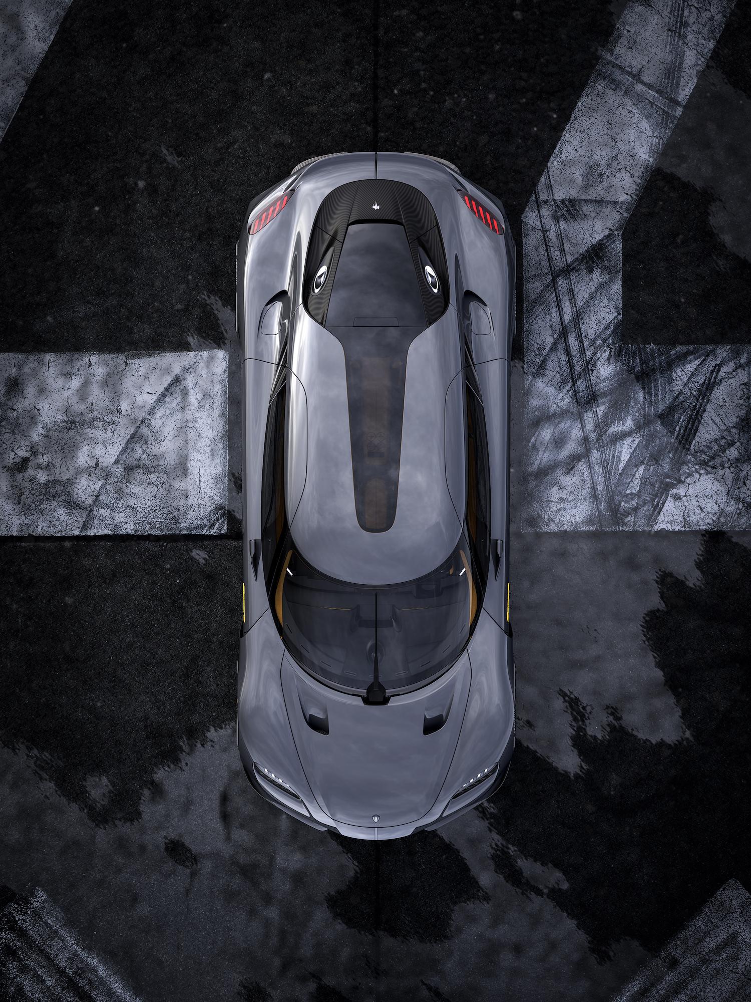 Koenigsegg gemera overhead view
