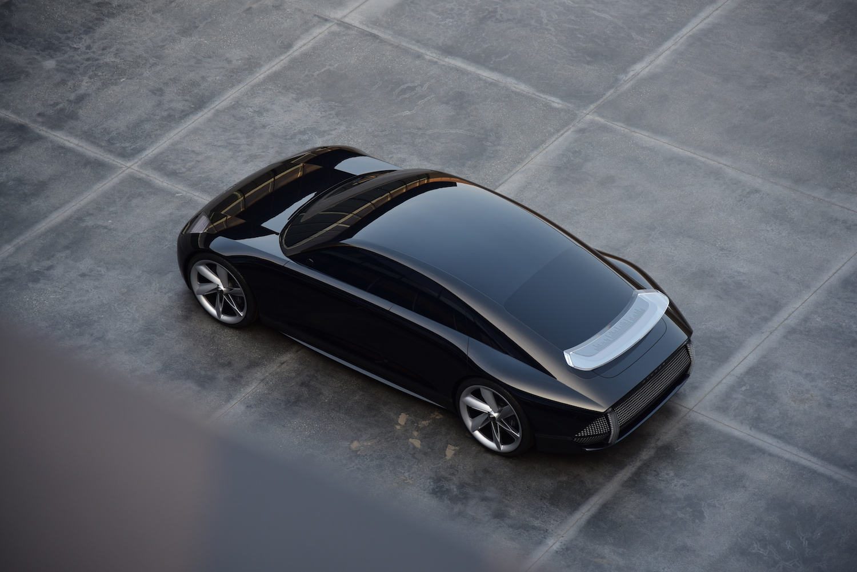Hyundai Prophecy Concept EV overhead rear three-quarter