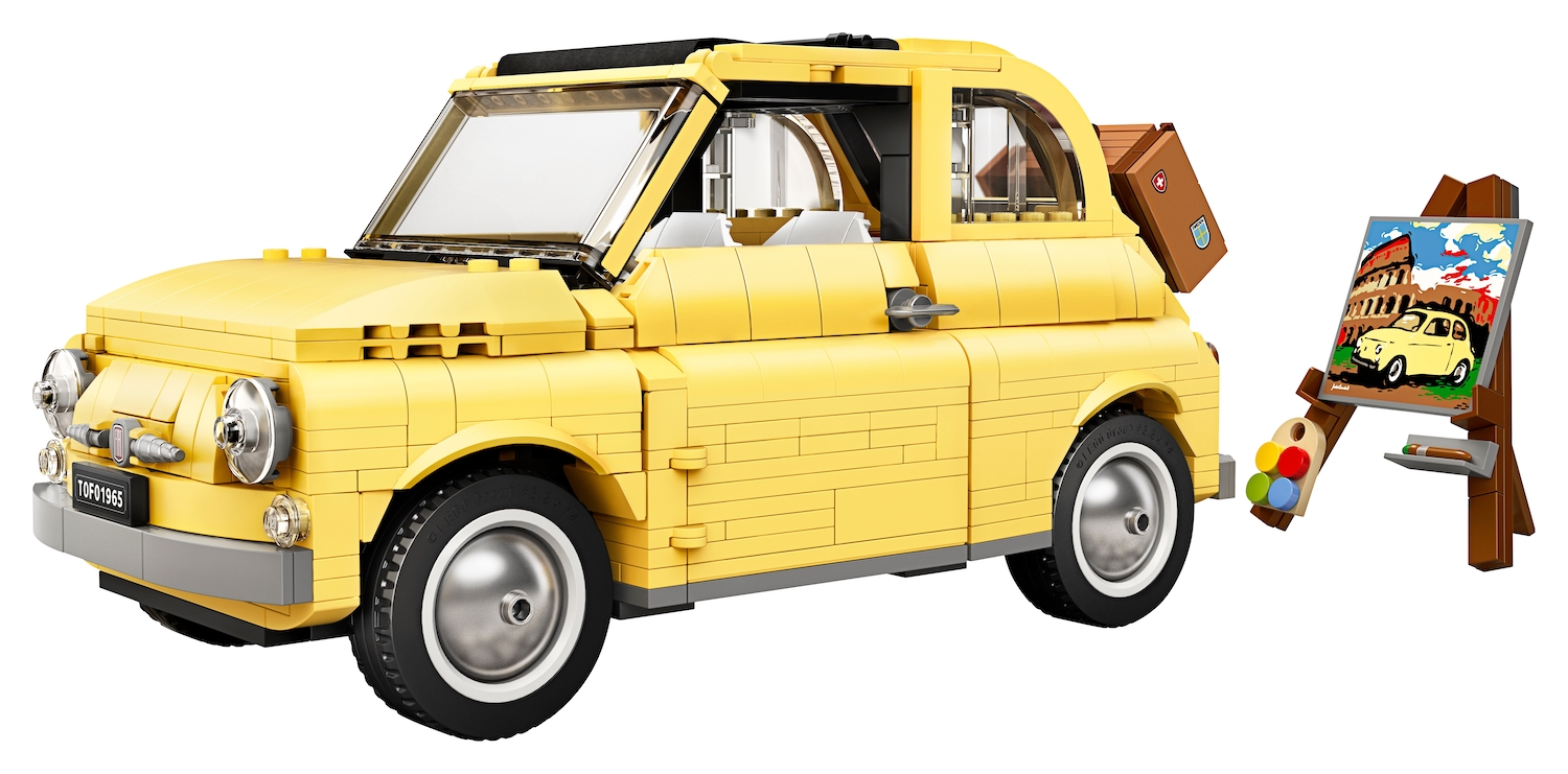 lego fiat 500 toy car front three-quarter