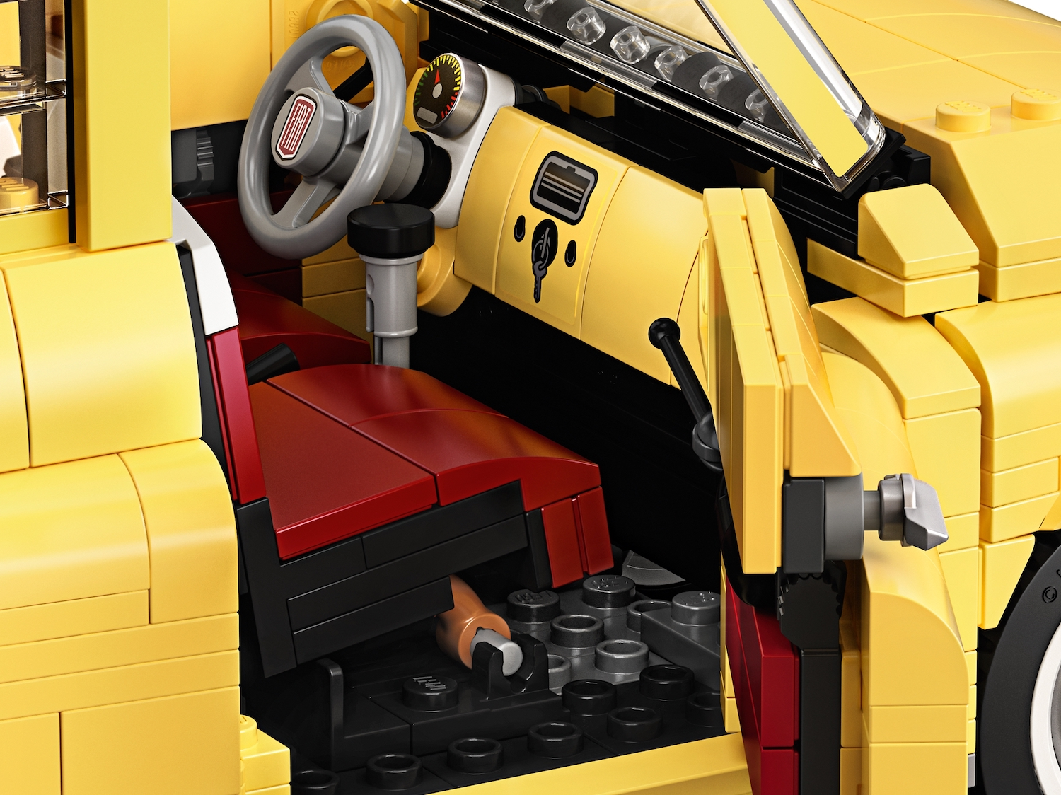 lego fiat 500 toy car open door interior detail