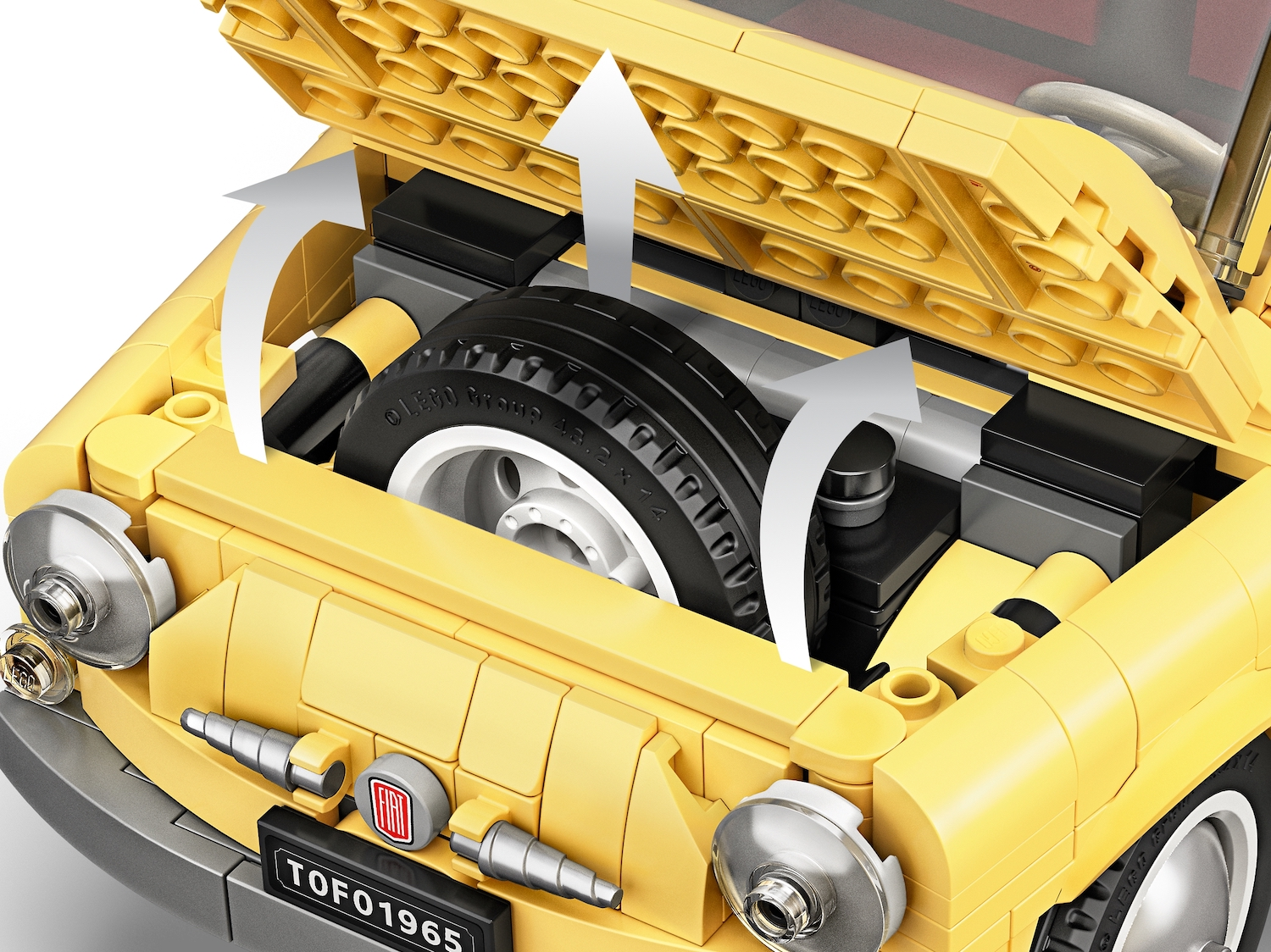 lego fiat 500 toy car spare tire
