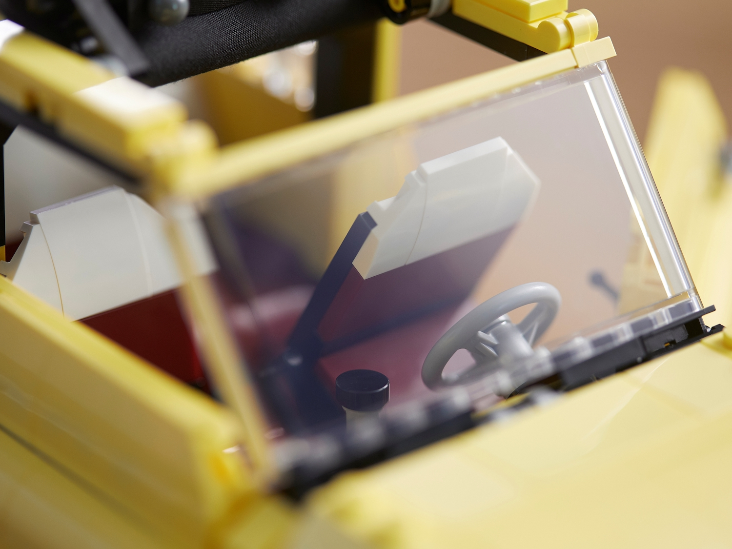 lego fiat 500 toy car front seats through windshield