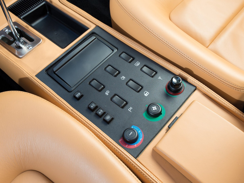 classic supercar interior center console closeup