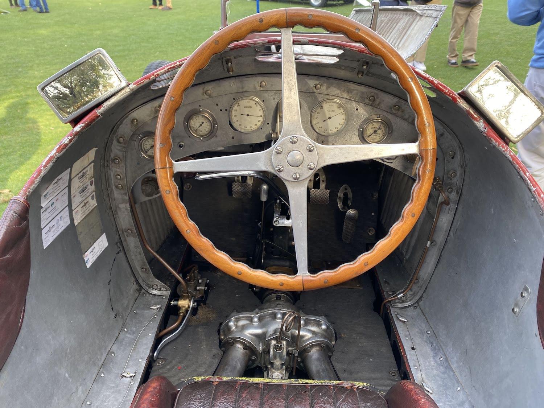 alfa romeo vintage race car interior cockpit and steering wheel