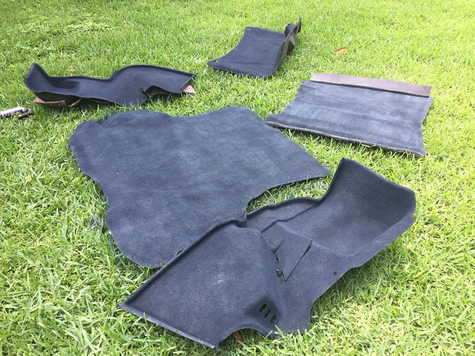 carpet floor mats laid out on green lawn