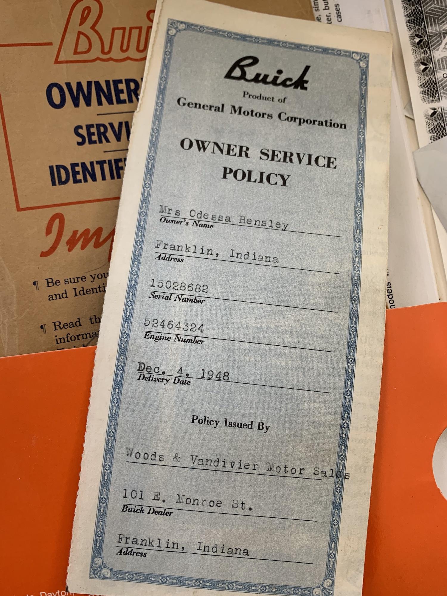 vintage buick paperwork