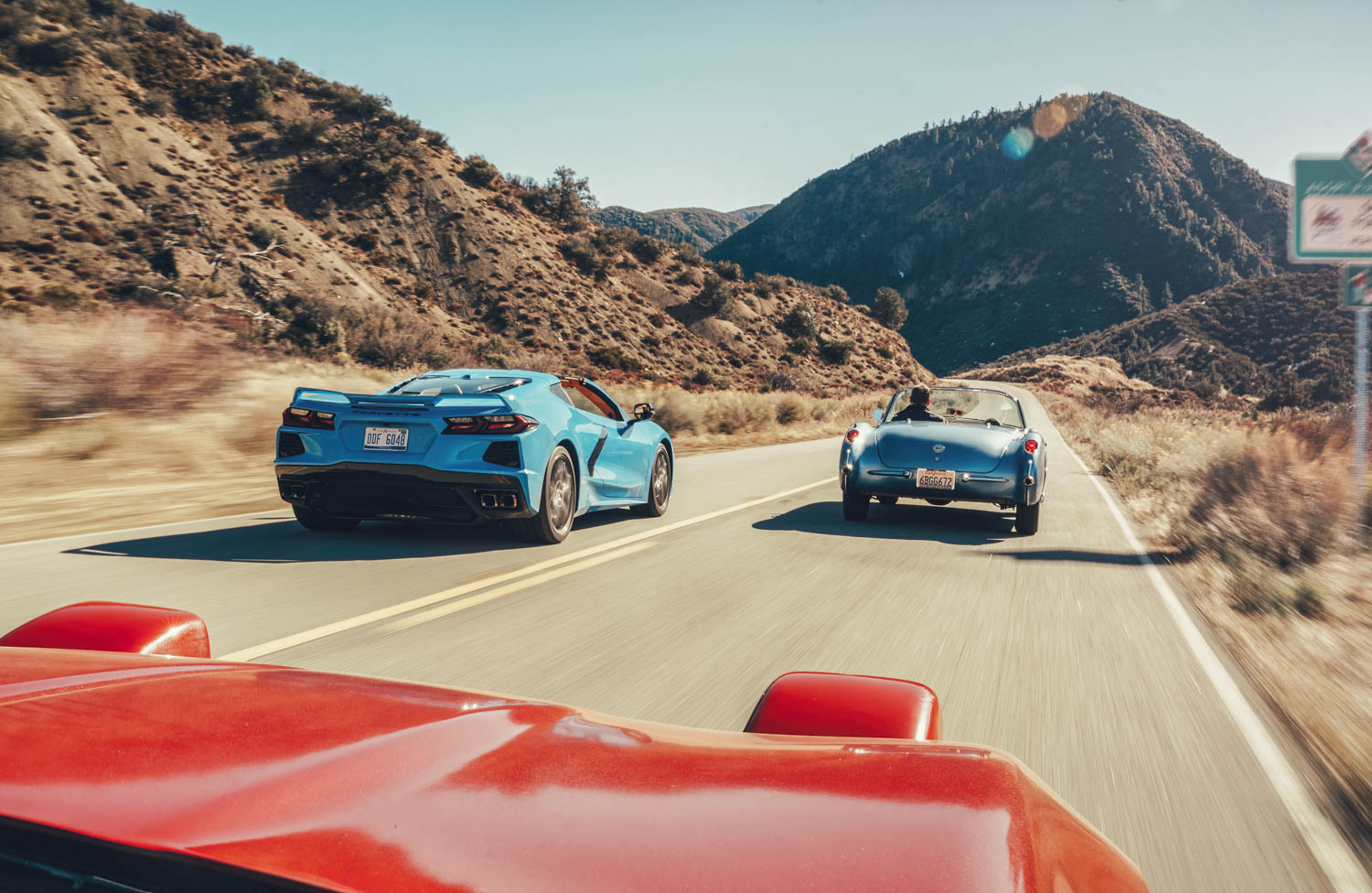 The occasional straights on California's Highway 33 were the perfect places to mash the throttle during our private Corvette club cruise.