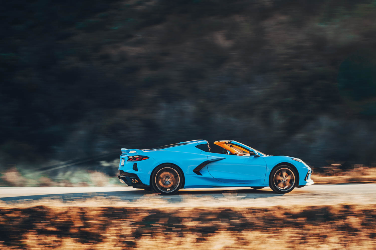Fetching in Rapid Blue, the 2020 Corvette is all swoops and angles. It's all B-pillars, too, and they impair rear visibility something fierce.