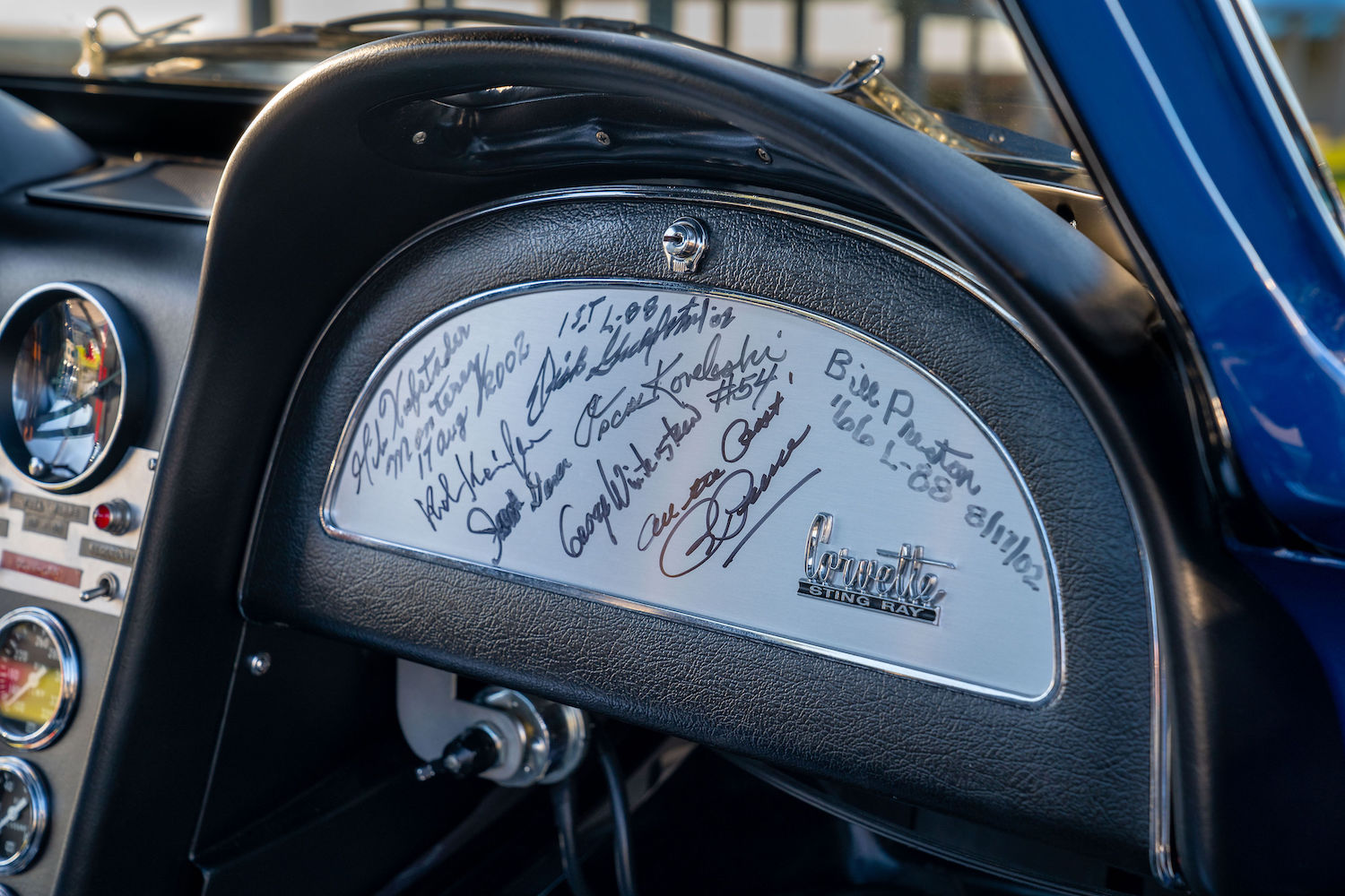 penske camaro dash glove box signatures closeup