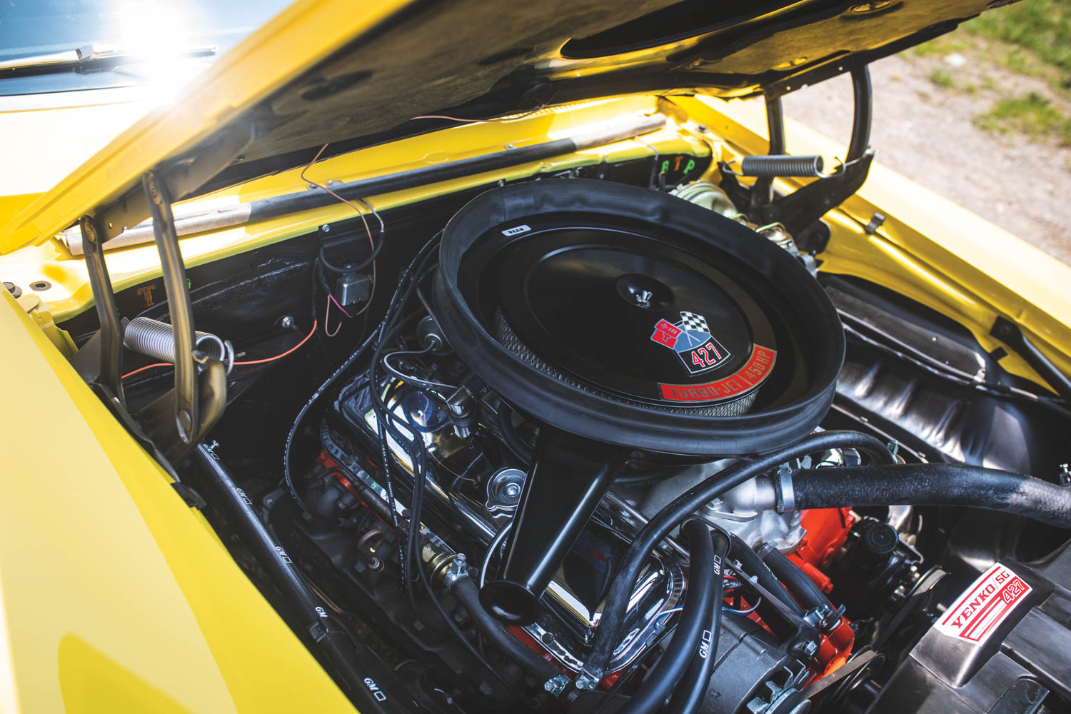 The Yenko's 427- cid V-8 is rated at 425 horsepower and 460 poundfeet of torque. It's quite happy to rev past its generous 6000-rpm redline.