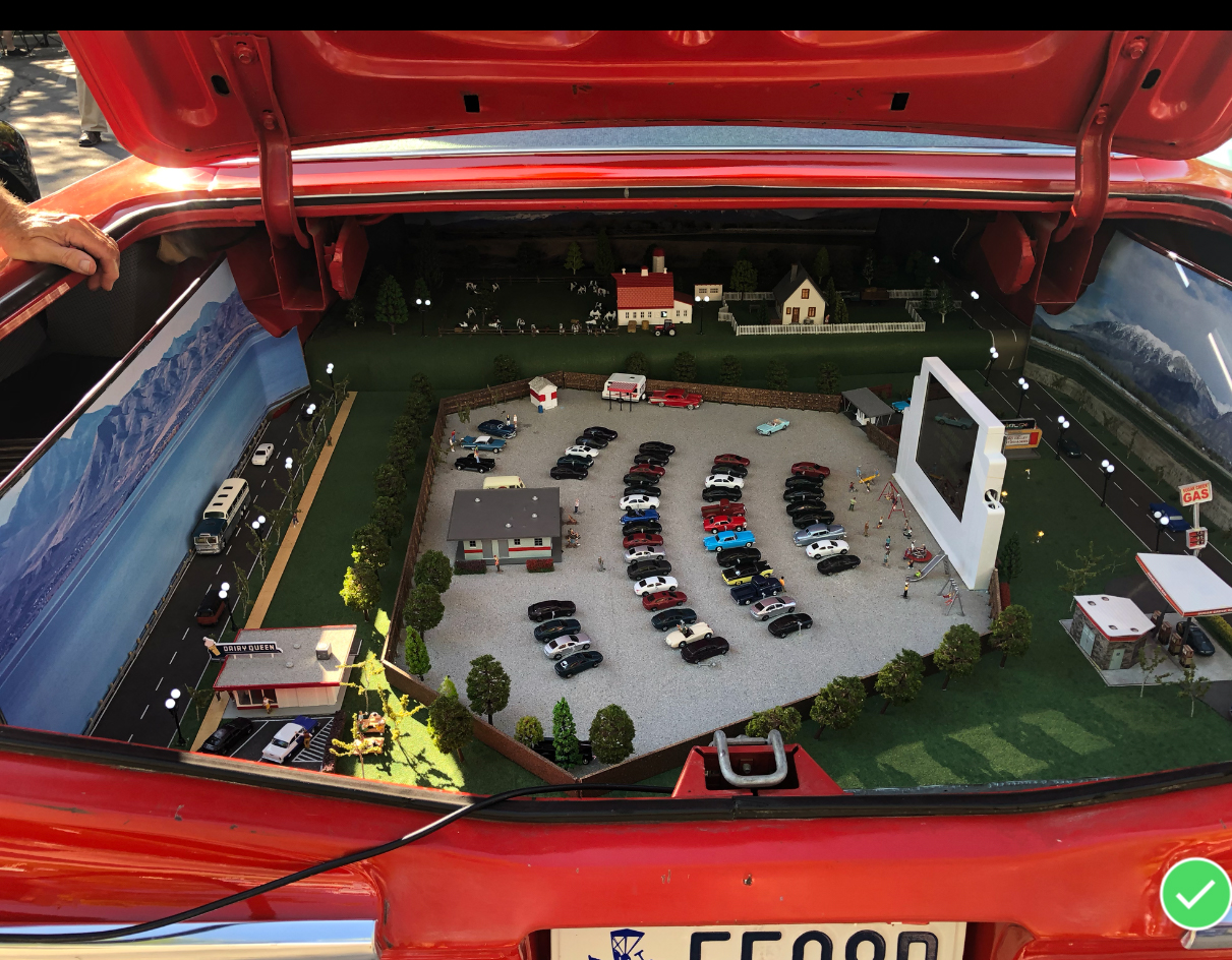 drive-in movie theater staged in trunk of 1960 numbers matching chevrolet bel air