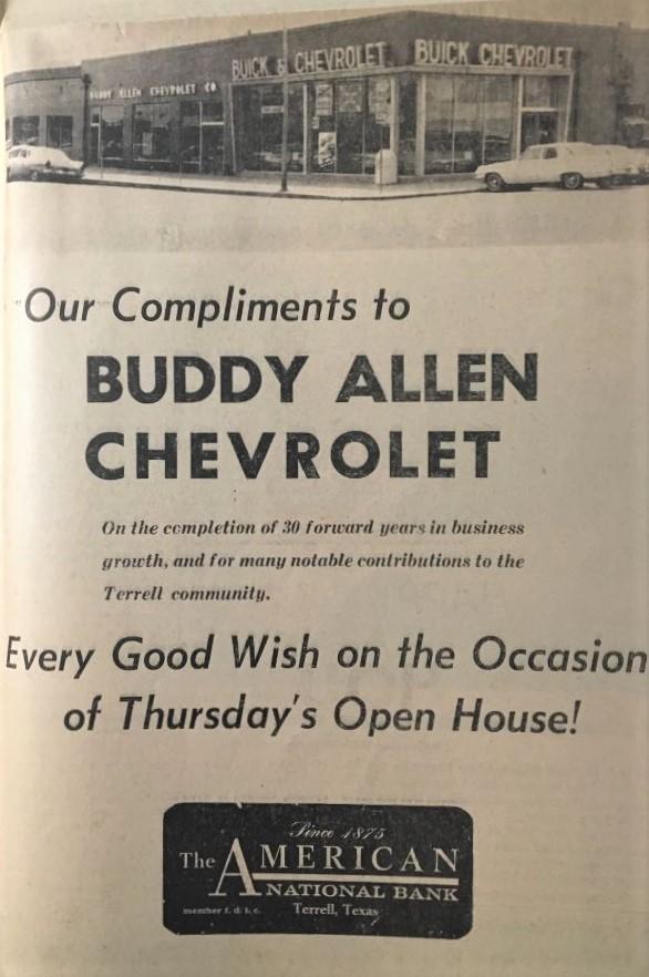 Buddy Allen Chevrolet dealership ad