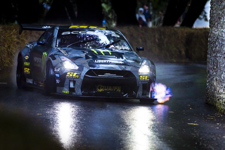 nissan gt-r slide on wet track action at goodwood festival of speed