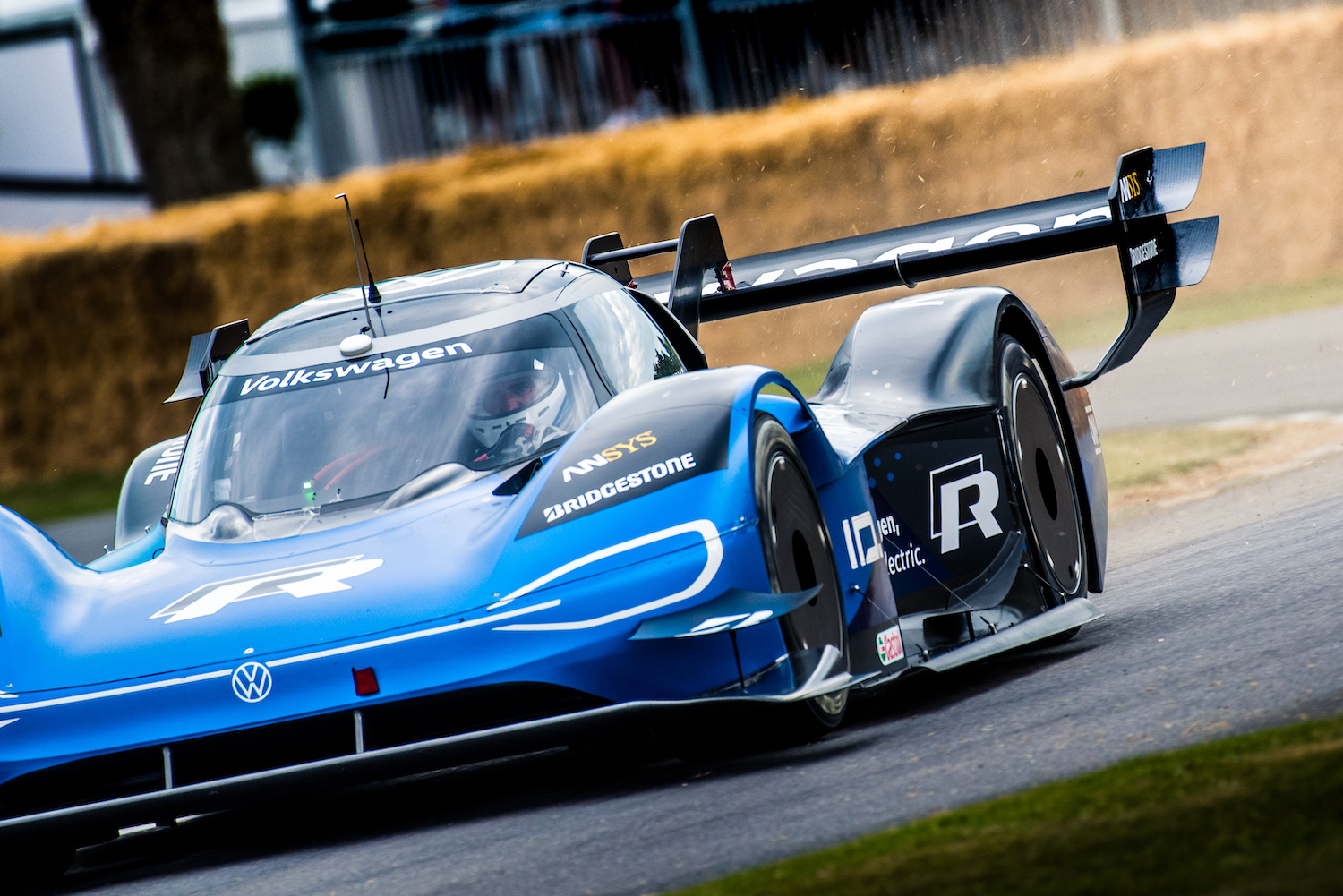 volkswagen track car front three-quarter on track action at goodwood festival of speed