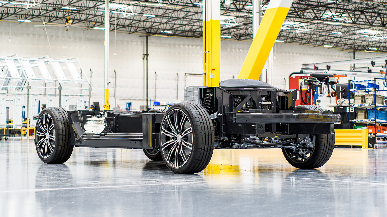 karma car chassis in factory